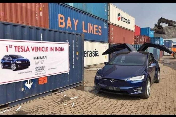 first Tesla in india images front angle