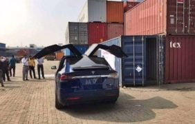 first Tesla in india images rear angle