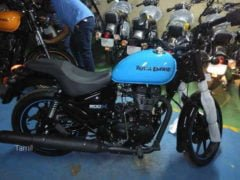Royal Enfield Thunderbird 500X Yellow Blue Side Profile