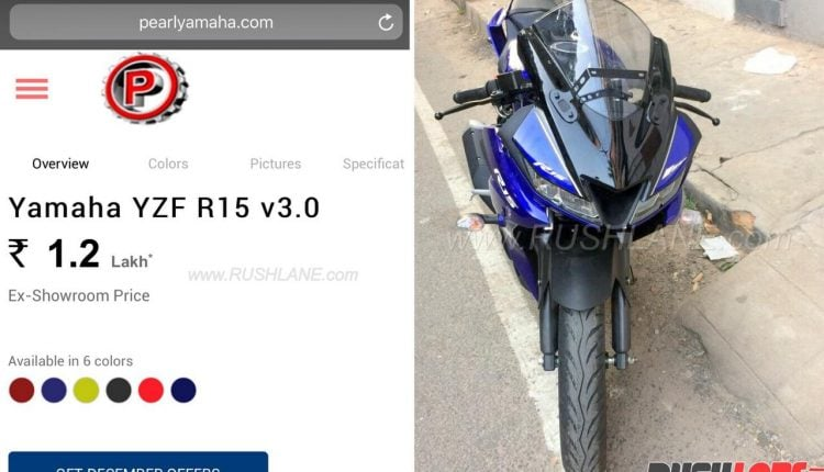 Yamaha R15 V3.0 Price – Rs 1.2 Lakh, Listed on Dealership Website