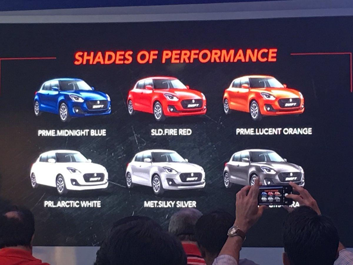 2018 Maruti Suzuki Swift Colours Carblogindia