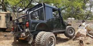 modified mahindra thar with six wheels images