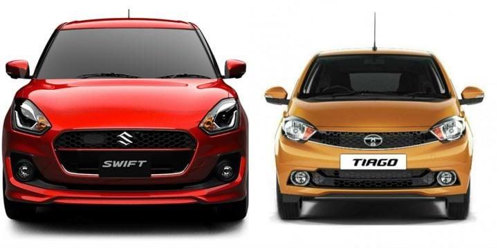 2018 Maruti Suzuki Swift Vs Tata Tiago Front Profile