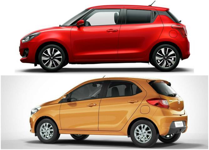 2018 Maruti Suzuki Swift Vs Tata Tiago side profile
