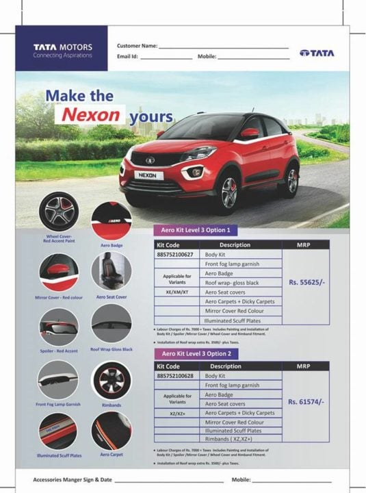 2018 Tata Nexon Aero Edition brochure 1