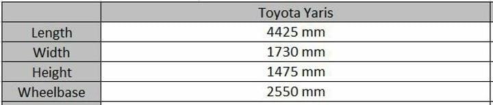 Toyota Yaris India Dimensions Sheet