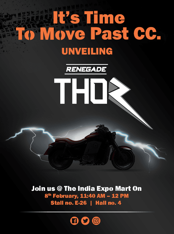 UM Renegade Thor Electric Cruiser Motorcycle Teased Ahead of Auto Expo 2018 Debut