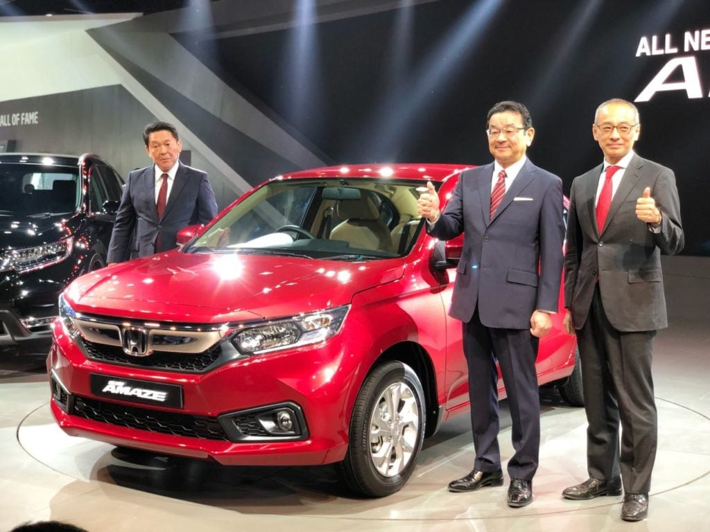 all new honda amaze unveiled at auto expo 2018 details images. Black Bedroom Furniture Sets. Home Design Ideas