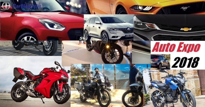 cars and bikes at auto expo 2018