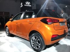new 2018 hyundai elite i20 images rear angle orange black