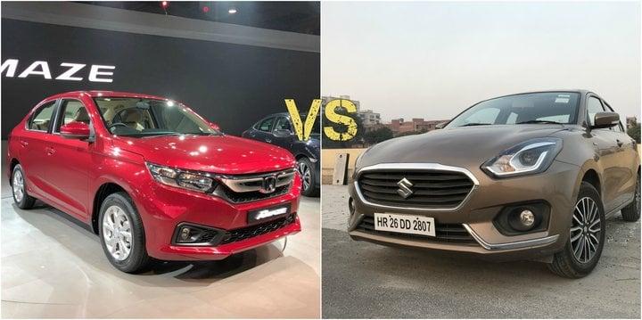 Price Of Swift 2018 In India >> New Honda Amaze vs 2018 Maruti Suzuki Dzire- Comparison Report