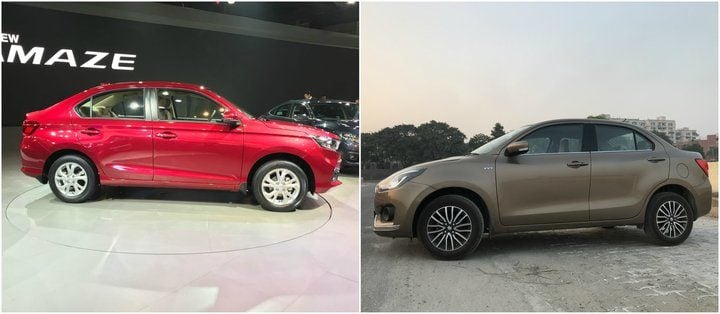 New Honda Amaze vs 2018 Maruti Suzuki Dzire side profile