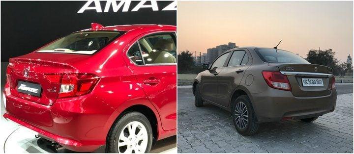 New Honda Amaze vs 2018 Maruti Suzuki Dzire rear