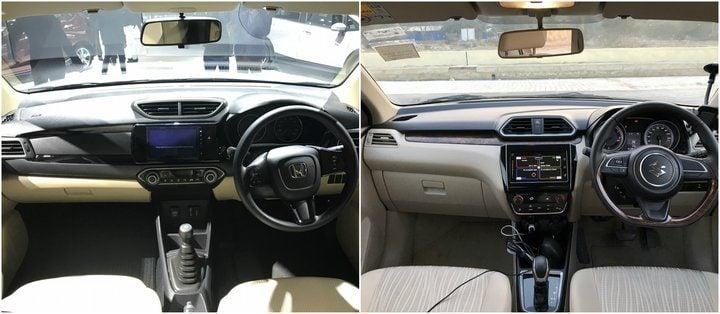 New Honda Amaze vs 2018 Maruti Suzuki Dzire interior