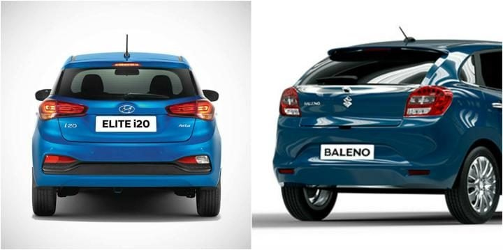 2018 Hyundai Elite i20 Vs Maruti Baleno Rear Profile