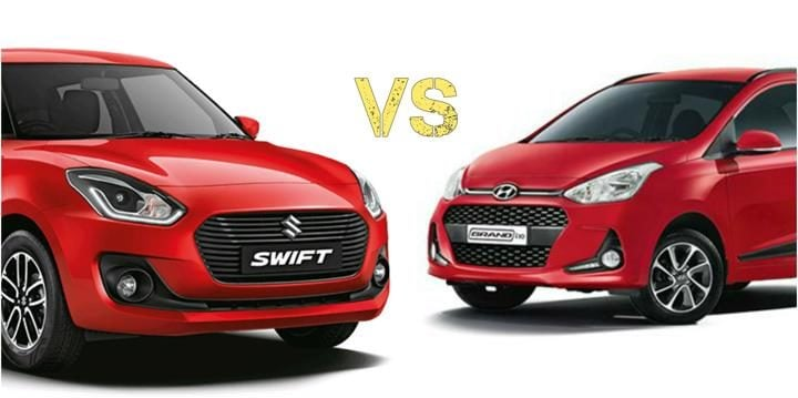 2018 Maruti Suzuki Swift Vs Hyundai Grand i10 Front