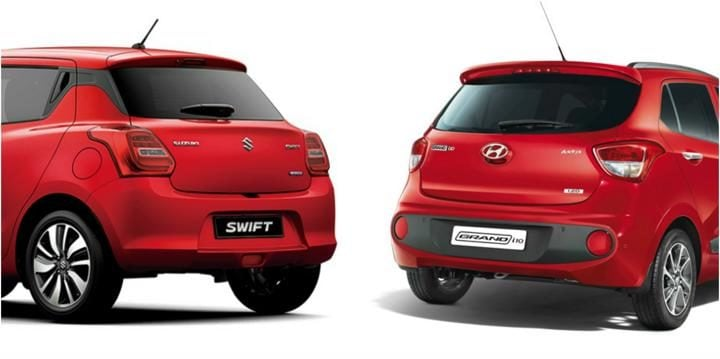 2018 Maruti Suzuki Swift Vs Hyundai Grand i10 Rear Profile