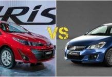 Toyota yaris vs maruti cias comparison image front