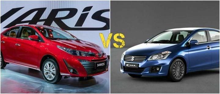Toyota yaris vs maruti ciaz comparison image front