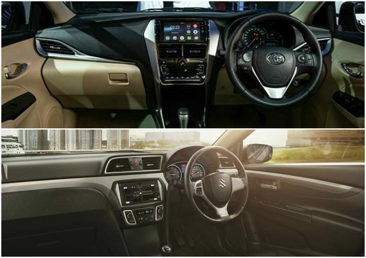 Toyota yaris vs maruti ciaz interiors comparison image pic