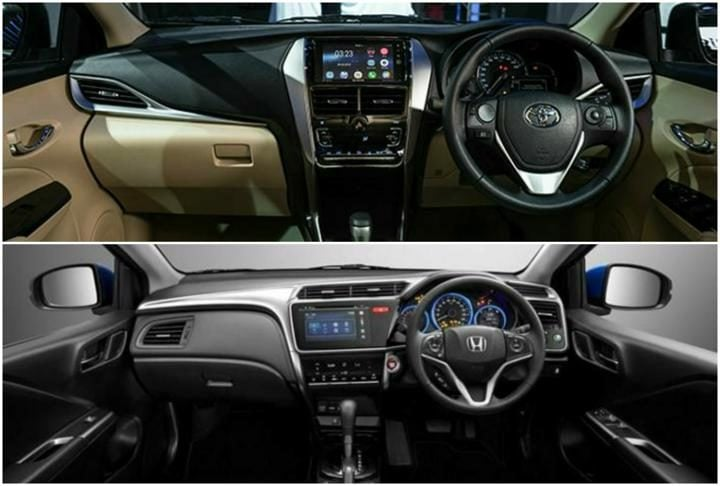 toyota yaris vs honda city interiors profile