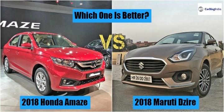 2018 Honda Amaze vs 2018 Maruti Suzuki Dzire-  Comparison Report