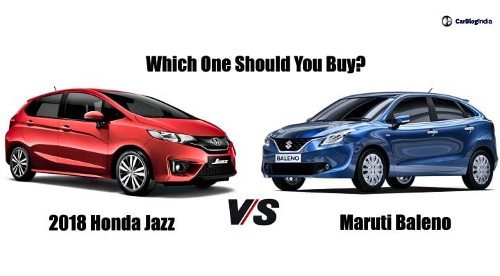 2018 honda jazz vs maruti baleno main image