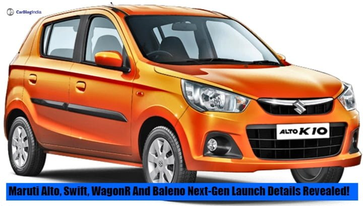 Maruti Alto, Swift, Wagon R and Baleno's Next-Generation launch details revealed