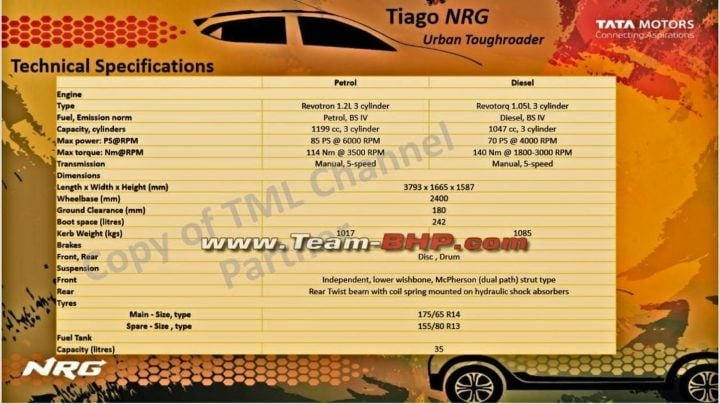 tata tiago nrg specification sheet image