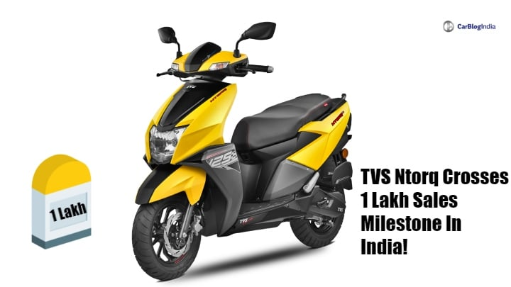 Honda Grazia rival TVS Ntorq achieves 1 lakh sales in India