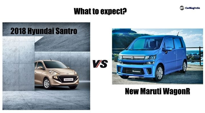 2018 Hyundai Santro Vs new maruti wagon r comparison image