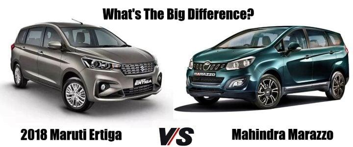 2018 Maruti ertiga vs mahindra marazzo social image