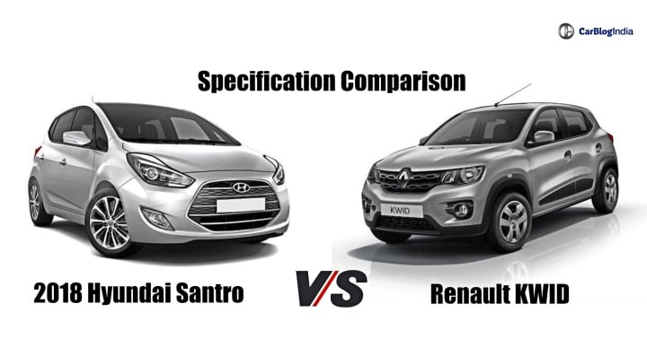 2018 Hyundai Santro Vs Renault Kwid- Specification Comparison