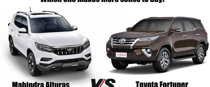 mahindra alturas vs Toyota Fortuner front image