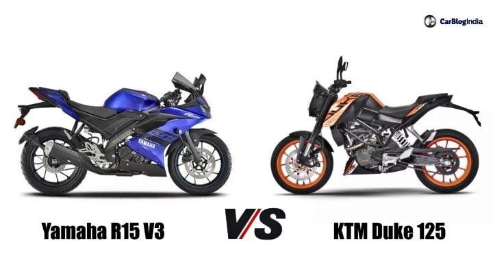 KTM Duke 125 vs Yamaha R15 V3 image