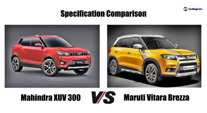 Mahindra XUV300 Vs Maruti Vitara Brezza- Specification Comparison