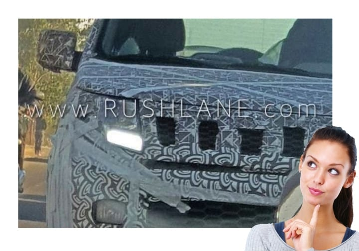 Mahindra TUV 300 facelift seen with LED daytime running lights
