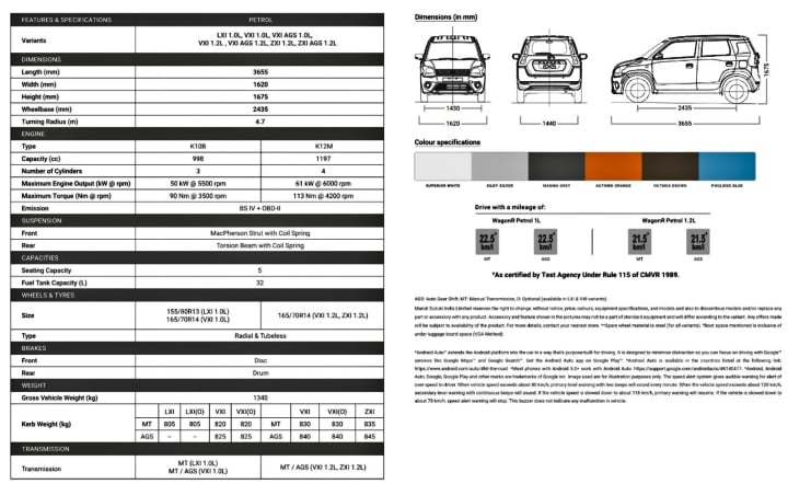 maruti wagon r brochure one image