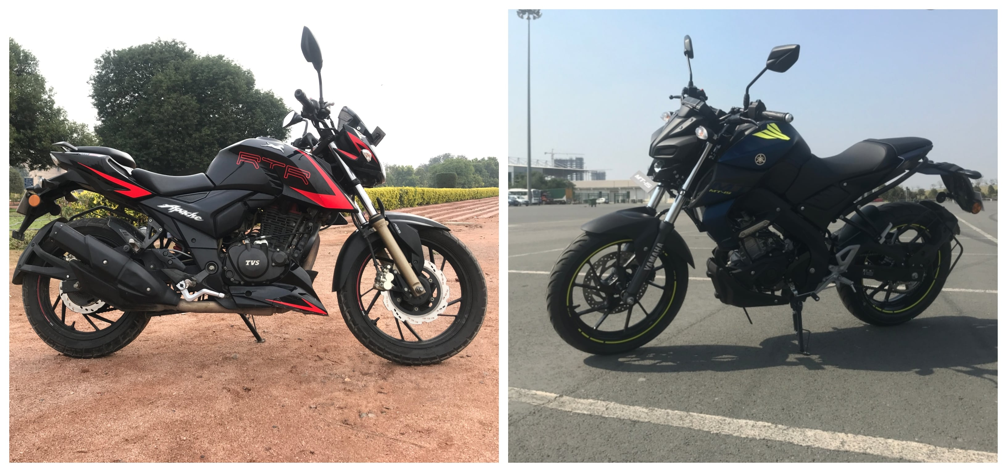 Fabulous Yamaha Mt 15 Vs Tvs Apache Rtr 200 4V Detailed Comparison Gmtry Best Dining Table And Chair Ideas Images Gmtryco