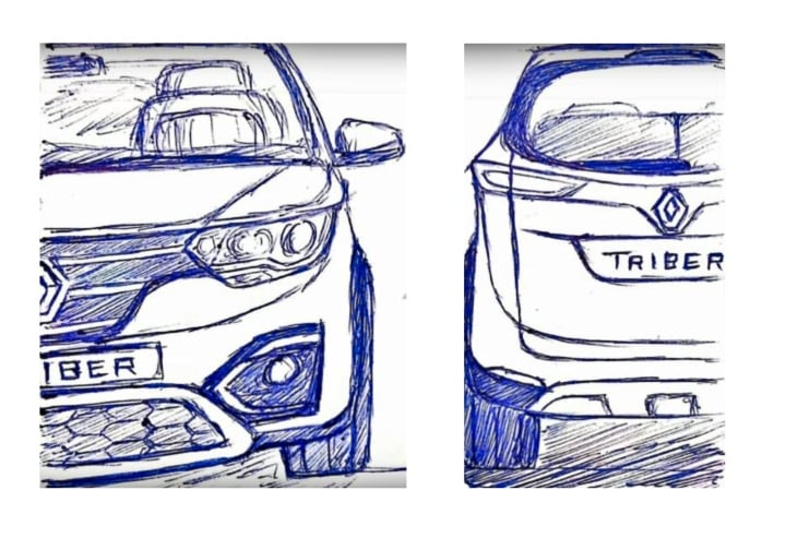 Renault Triber MPV design sketches leaked