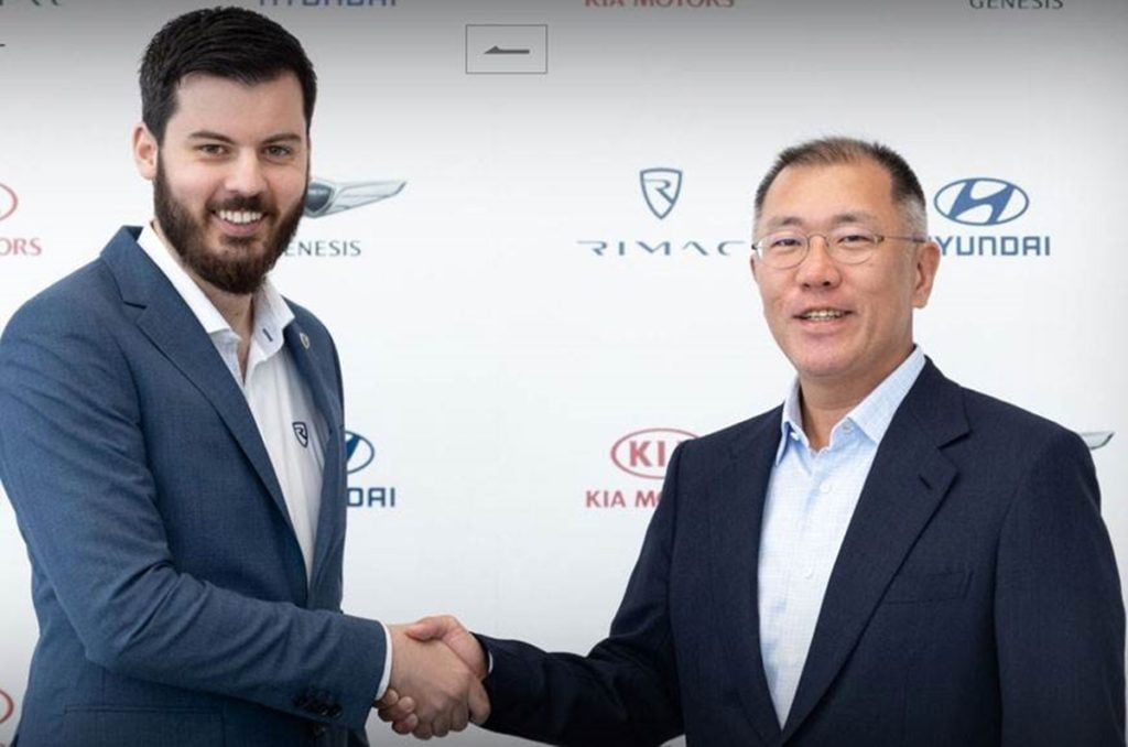 Founder and CEO of Rimac Automobili, Mate Rimac with Euisun Chung, Executive Vice Chairman of Hyundai Motor Group
