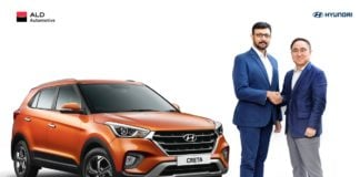 Mr. S.J. Ha, Executive Director, Sales &Marketing, Hyundai Motor India with Mr. Suvajit Karmakar, Chief Executive Officer & Whole-time Director, ALD Automotive India announcing HMIL's collab