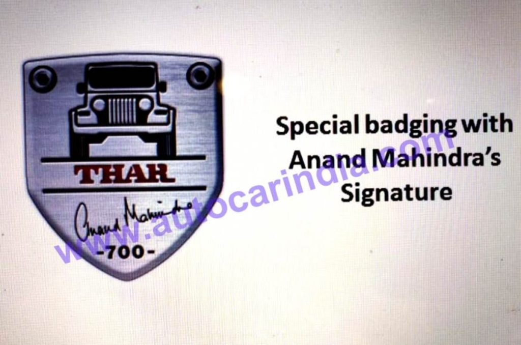 Mahindra Thar Signature Edition Pictures leaked