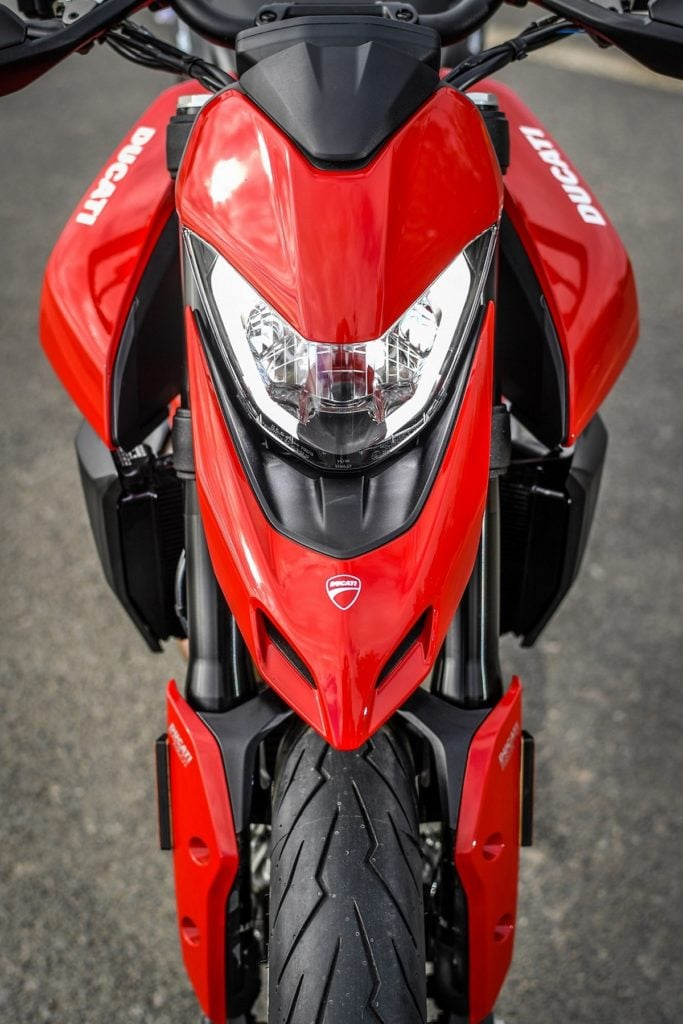 The signature beak of the Hypermotard