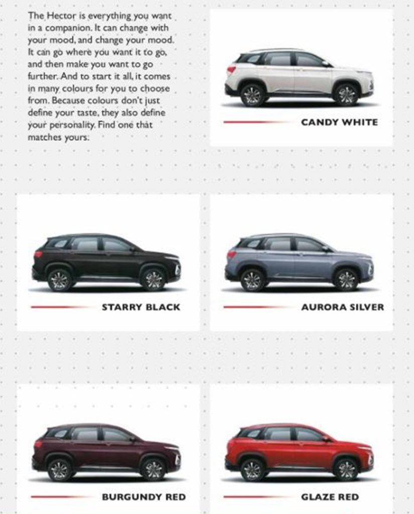 MG Hector Color Options