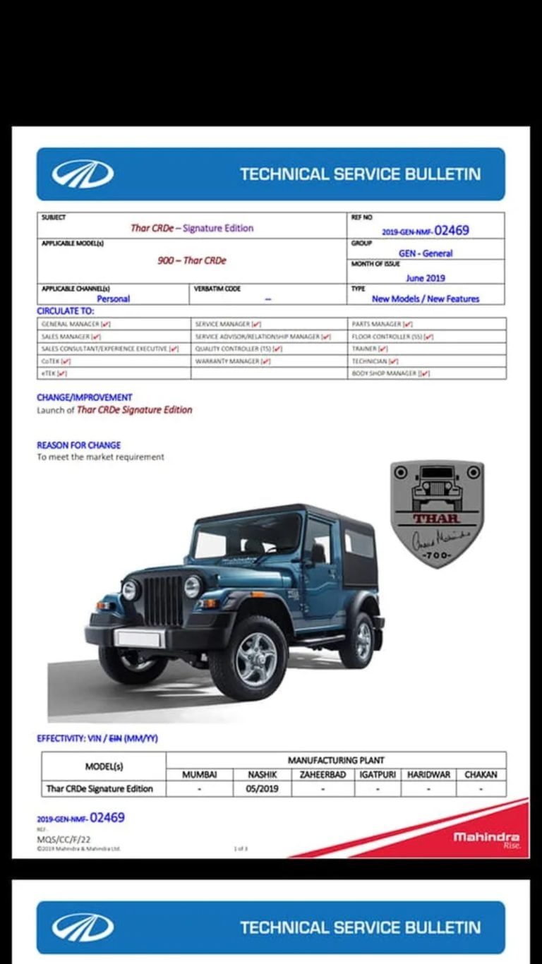 Mahindra Thar Signature Edition – Complete Details Out