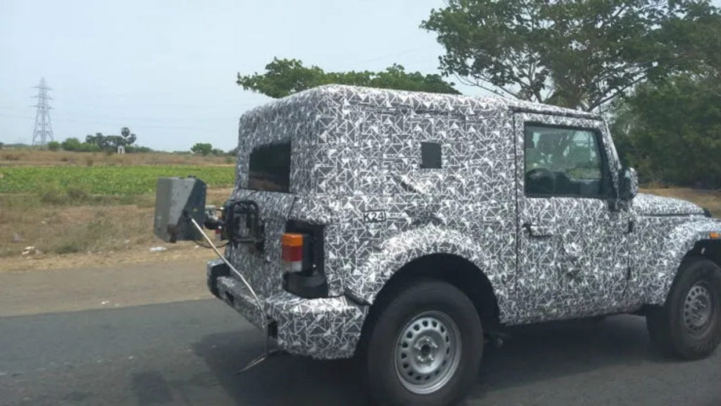 Mahindra Thar seen wearing BS-VI emission testing equipment