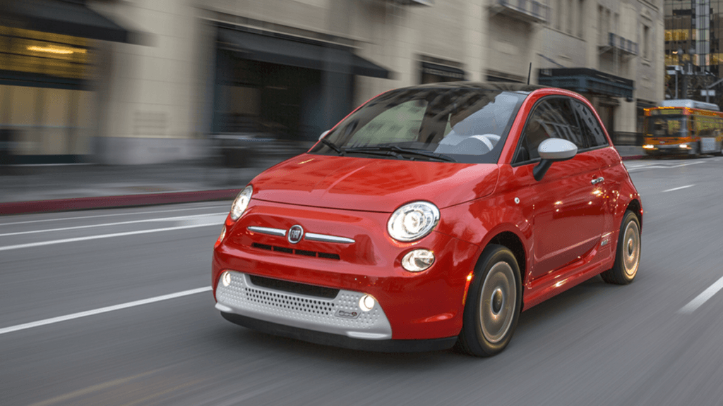 The electric Fiat 500 called the 500e which is sold in the USA