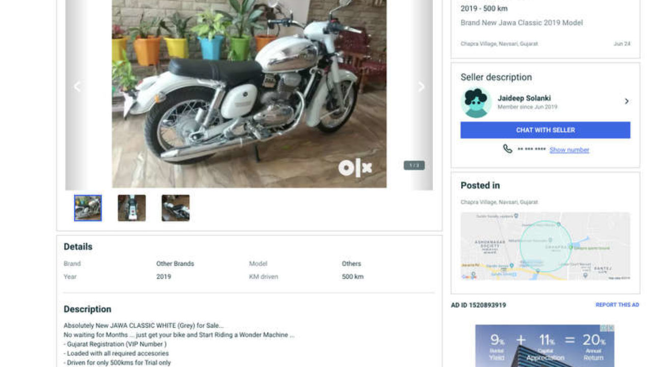 Second Hand New Jawa Motorcycle Already Up on OLX - Details