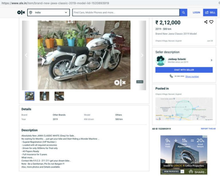 Second Hand New Jawa Motorcycle Already Up on OLX – Details